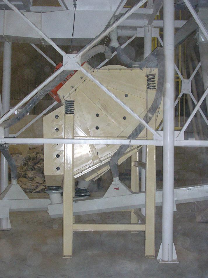 Peneira Multideck® classificando casca de arroz moído para a retirada do pó menor que 100mesh